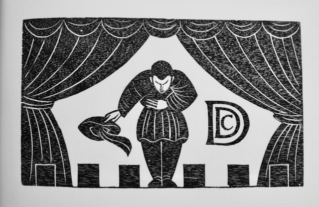 Woodcut of  actor doffing his hat for Ditchling Drama Club by Eric Gill